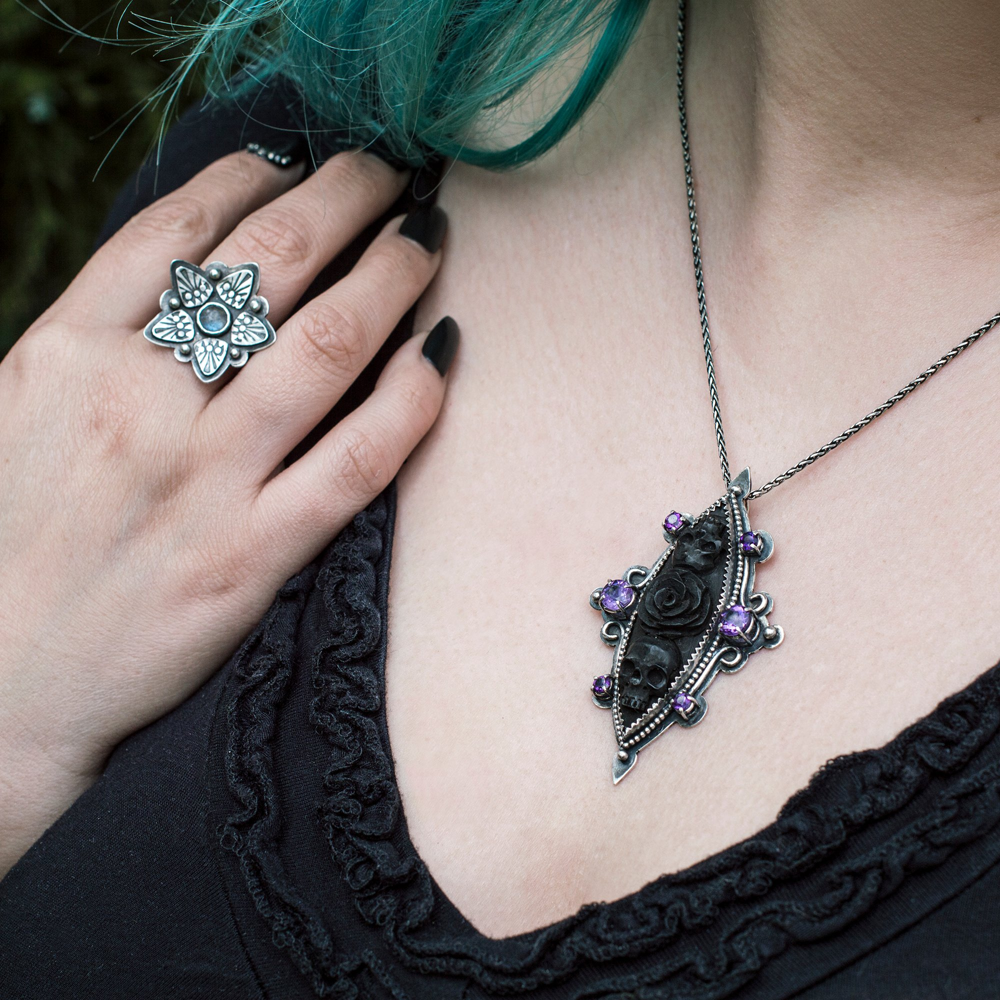 Handfabricated gothic jewelry in sterling silver