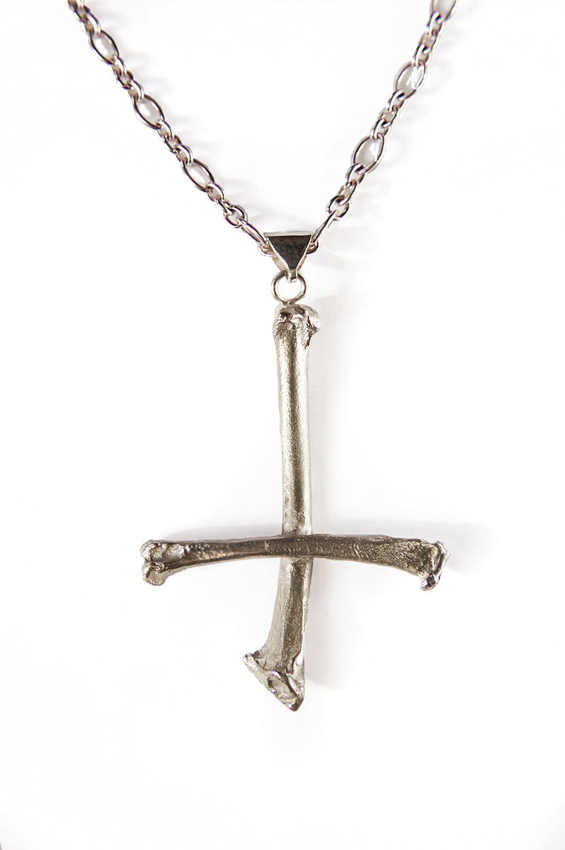 sterling silver inverted cross bone pendant